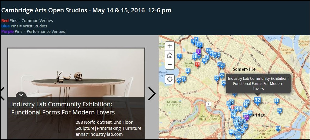 Cambridge Art Open Studios - Story Map- May 2016