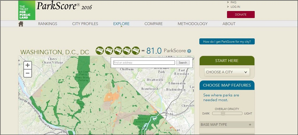 ParkScore: See the Rankings on Public Parks of 100 Major U.S. Cities